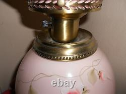 Fenton Pink Lamp With Painted Flowers