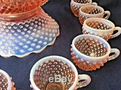 Fenton Pink Opalescent Hobnail Punch Bowl with 12 Cups