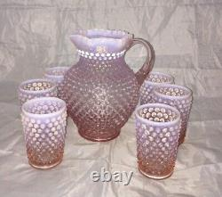 Fenton Pink Opalescent Hobnail Water Set 1988 Limited Edition Pitcher 6 Tumblers