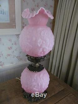 Fenton Pink Poppy Satin Gone with the Wind lamp