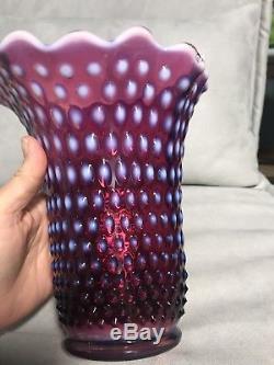 Fenton Plum Hobnail Opalescent Art Glass Swung Hankerchief Vase