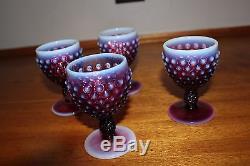Fenton Plum Opalescent Hobnail Wine Goblets (4)