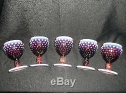 Fenton Plum Opalescent Hobnail set of 5 Wine Goblets