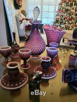 Fenton Plum Opalesnt Hobnail LOT Fairy, logo etc! FREE Shipping