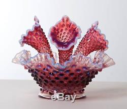 Fenton Plum Purple Amethyst Opalescent Hobnail Epergne Ruffled Glass Vase