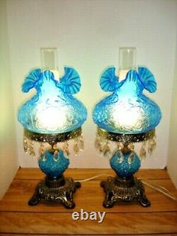 Fenton Poppy Blue Student Lamp With Flower Glass And Crystal Prisms