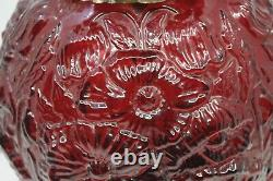 Fenton Poppy Gone With the Wind Cranberry Glass Lamp/ 24 INCHES TALL
