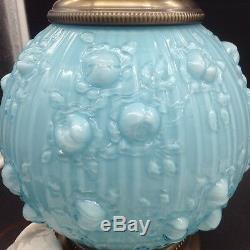 Fenton Pressed Roses Blue Topaz Shades Gone with the Wind Table Lamp Flowers