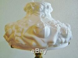 Fenton Puffy Rose Parlor Lamp LG Wright Gone With The Wind Cased Glass