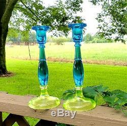Fenton RARE 649 Topaz & Celeste Blue Candlesticks