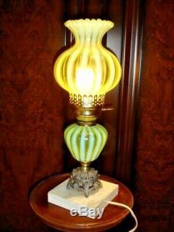 Fenton RARE Rib Optic Topaz Vaseline opalescent Lamp 1939-1940