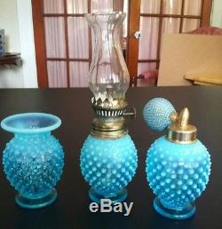 Fenton Rare Blue Opalescent perfume bottles & miniature oil lamp 3 PC. S OldRare