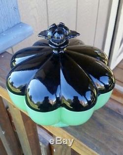 Fenton Rare Floral Finial Jade Ebony Melon Candy Dish