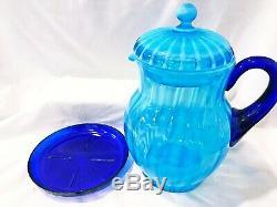 Fenton Rib Optic Blue Opalescent Glass Iced Tea Lemonade Set Circa 1920's