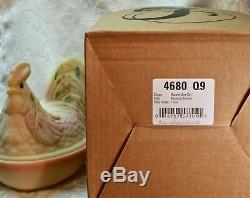 Fenton, Rooster Box / Rooster on Nest, Burmese Glass, Sanded, Hand Decorated