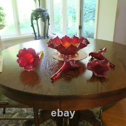 Fenton Ruby Amberina Stretch Glass 5 Pc Epergne Historic Collection 2003 7601RL