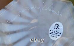 Fenton Signed D Robinson Opalescent Meadow Beauty 9.5 Vase Sea Green Crest Rim