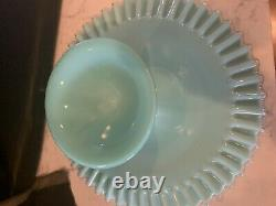 Fenton Silver Crest Turquoise Blue Cake Stand / Plate. Rare