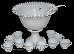 Fenton Silver Crest WMG #7306 Punch Bowl Set / 10 Cups and Ladle