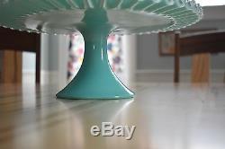 Fenton Silver Turquoise aqua milk glass pedestal cake stand plate crimped edge