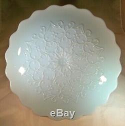 Fenton Spanish Lace Blue Milk Glass 12-3/4 Diameter Pedestal Footed Cake Stand