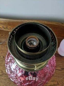 Fenton Spanish Lace Cranberry Lamp