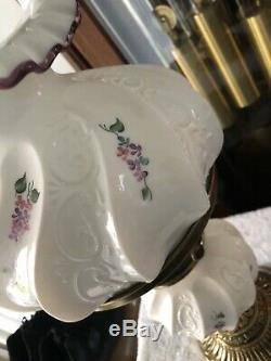 Fenton Student Glass Lamp White Paisly Pattern & Hand Painted Flowers Plum Crest