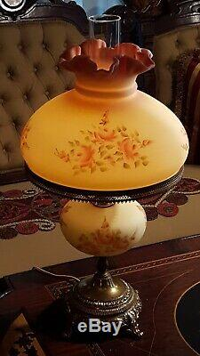 Fenton Student Lamp Burmese Glass Sunset Roses Vintage Satin Vaseline Excellent