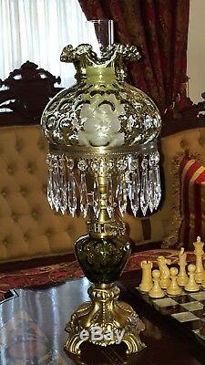 Fenton Student Lamp Green Coin Dot Antique Brass w Prisms Tall Excellent Cond
