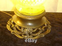 Fenton TOPAZ VASELINE GLASS Opalescent hobnail vase lamp