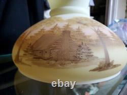 Fenton Table Lamp Yellow burmese CountryLog Cabin Scene hand painted 21 signed