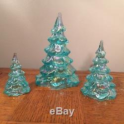 Fenton The American Christmas Pine Tree 3 Piece Set Iridescent Green