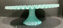 Fenton Turquoise Blue Silver Crest Cake Stand / Plate. Rare. HTF