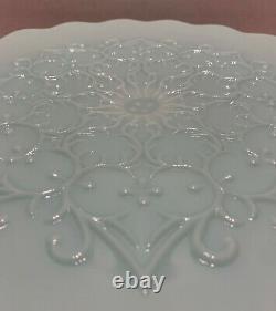 Fenton Turquoise Blue Spanish Lace Cake Stand Milk Glass Vintage HTF
