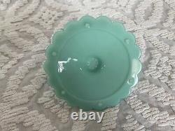 Fenton Turquoise Hobnail Candy Dish PERFECT condition