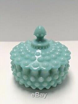 Fenton Turquoise Hobnail Lidded Ruffled Candy Dish Powder Dish
