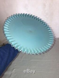 Fenton Turquoise Milk Glass Cake Plate Outstanding Perfect Rare 1960s Eames Era