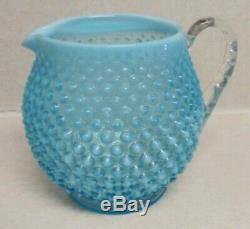 Fenton VTG Set Hobnail Blue Opalescent Squat Jug Pitcher & 6 Glasses VGC FREE SH