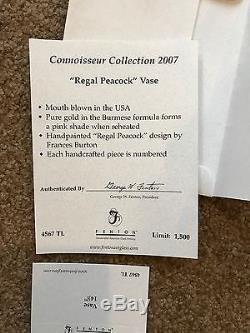 Fenton Vase Burmese 2007 Connoisseur Collection Regal Peacock #445/1500