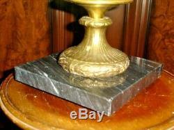 Fenton Vaseline Glass Hobnail Opalescent Lamp Gwtw, Rare