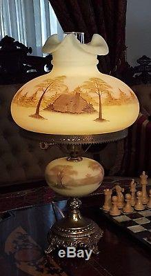 Fenton Vaseline Lamp Victorian Log Cabin on Custard Uranium Glass Student H. P