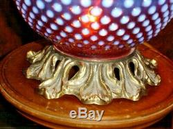 Fenton Very Rich Opalescent Cranberry Hobnail Gwtw New Lamp