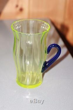 Fenton Vintage Lemonade Set Vaseline Glass + Cobalt Stretch Pitcher + 5 Cups