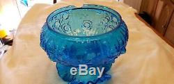 Fenton Vintage Student Lamp Colonial Blue Rose Pattern FREE SHIPPING