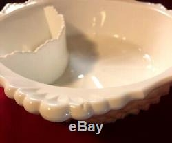 Fenton White Hobnail Milkglass Very Rare Chip And Dip Bowl