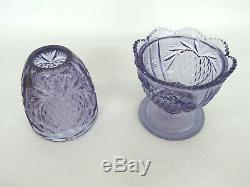Fenton Wisteria New Heart Purple Glass Two Piece Fairy Lamp Candle Holder 630B