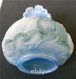 Fenton art glass vase hand painted swan decorations artist signed