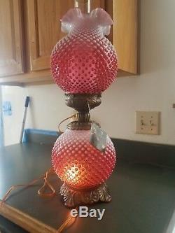 Fenton cranberry glass lamp