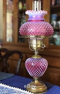 Fenton cranberry opalescent hobnail lamp