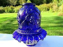 Fenton for LG Wright Cobalt Blue Embossed Rose 3/pc. Fairy Lamp MINTGorgeous